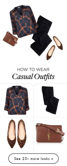 """""""Check Blouse & Leopard Flats"""" by jaycee0220 on Polyvore featuring Avon, River Island and Yves Saint Laurent"""