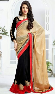 Brighten your look with this beige and black faux georgette saree. The charming gold zardosi, lace, patch, resham, sequins and stones work a vital attribute of this attire. #BeautifulStyleTraditionalSaree