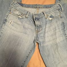 AE JEANS My size 6 AE jeans have been very much enjoyed! Some fraying and small holes. But they look fabulous on. American Eagle Outfitters Pants
