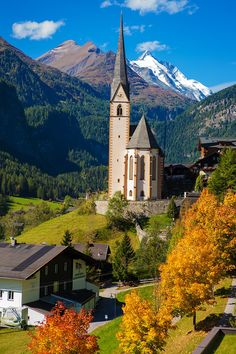 Church in Cortina, autumn, Italy - Church in Cortina d'Ampezzo, Dolomites, Veneto, Italy