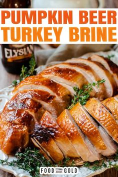 Looking for a new flavor profile for your Thanksgiving turkey? Try this pumpkin beer turkey brine recipe for a tender and juicy turkey bursting with autumnal flavor. If you have experience working with different salts, you know that each one has it's own unique size and texture. Some are large crystals while others are small flakes. | @foodabovegold #turkeybrine #pumpkinrecipes #thanksgivingrecipe #bestturkeybrine #howtodoaturkeybrine #holidayrecipes #cooklikeachef Healthy Thanksgiving Recipes, Thanksgiving Side Dishes, Thanksgiving Turkey, Fall Recipes, Dinner Recipes, Dinner Ideas, Holiday Recipes, Christmas Recipes, Christmas Ideas