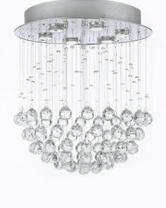 """Modern Contemporary Chandelier """"Rain Drop"""" Chandeliers Lighting with Crystal ..."""