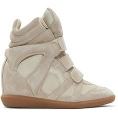 Isabel Marant Taupe Suede Bekett Wedge Sneakers ($485) ❤ liked on Polyvore featuring shoes, sneakers, suede sneakers, hidden wedge heel sneakers, velcro high-top sneakers, suede high top sneakers and suede shoes