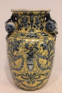 Beautiful Blue and Yellow Oriental Crackle Porcelain Vase Chinoiserie Pattern