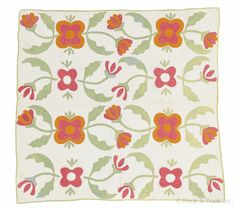 "Appliqué floral crib quilt, late 19th c., 41"" x 43"", Pook & Pook"