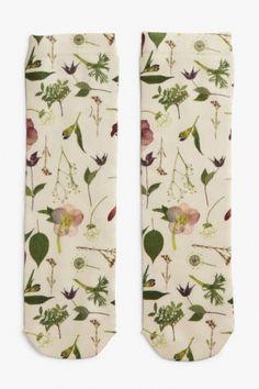Monki Flower socks in White