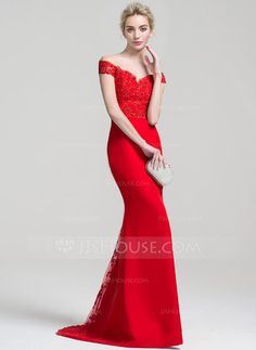 Trumpet/Mermaid Off-the-Shoulder Sweep Train Beading Sequins Zipper Up Covered Button Regular Straps Sleeveless No Red Spring Summer Fall General Plus Chiffon Lace Height:5.7ft Bust:33in Waist:24in Hips:34in US 2 / UK 6 / EU 32 Evening Dress
