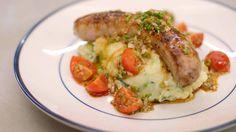 Venkelworst, tomatensla en puree met lente-ui en basilicum | Dagelijkse kost