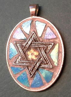Glass Mosaic Star of David Pendant <3 by MinervaMosaics