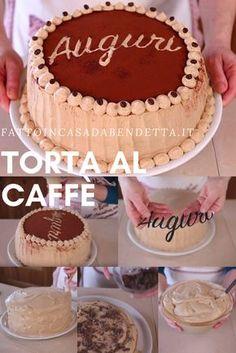 Torta di compleanno al caffè . Un dolce panna e caffè dal sapore deciso ma dal cuore tenero. Italian Cooking, Italian Recipes, Chocolates, Saveur, Biscotti, Vanilla Cake, Mousse, Creme, Cake Recipes