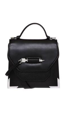 MACKAGE_RUBIE-S5 BLACK AND SILVER LEATHER MINI CROSSBODY BAG #mackage #handbags