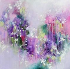 A contemporaryoriginal abstract expressionist painting on canvas. Expressive and colourful artwork created using acrylic paint on stretched canvas. This is a lovely expressive piece in which beautiful shades of purple, green, white and pink come together to create this stunning original painting on canvas. Highlighted here and there with metal leaf. The painting arrives ready to hang with sides painted so there is no requi...