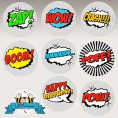 POP ART SuperHero Cupcake Topper – 2″ circles- Super Hero Birthday Party – Comics Pop art – Printable pdf « Lil Faces Printables
