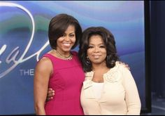"In this photo taken Jan. 21, 2011 and provided by Harpo Productions Inc., talk-show host Oprah Winfrey, right, poses with first lady Michelle Obama during taping of ""The Oprah Winfrey Show"" at Harpo Studios in Chicago. The show will air nationally on Thursday, Jan. 27."