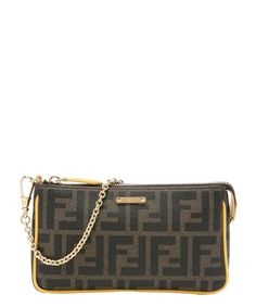 Fendi tobacco zucca coated canvas and yellow leather convertible clutch
