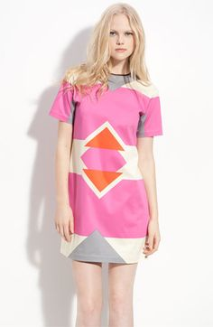 Spring perfection!  Could even be office appropriate with a nice jacket (rolled up sleeve optional...).  Derek Lam Colorblock Shift Dress.  Available at shop.nordstrom.com.