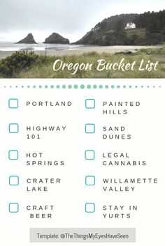 Are you planning a trip to Oregon? Here you can see the bucket list items that I put together for your travels and WHY you should consider them. Oregon Dunes, Oregon Beaches, State Of Oregon, Oregon Coast, Ecola State Park, Adventurous Things To Do, Painted Hills, Crater Lake National Park, Oregon Travel