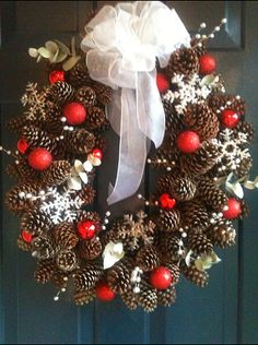 Winter Wreath made out of natural materials found in the home. Only cost $11 for the silver berries, ribbon and red ornaments. Pine cones from my pine trees and snowflakes made from hot glue gun with a splash of glitter.