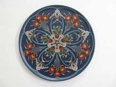 "Norwegian Rosemaling | Norwegian Rosemaling on 12"" Wood Plate 