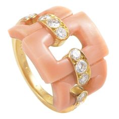 Van Cleef and Arpels Pink Coral Diamond Gold Band Ring Coral Ring, Coral Jewelry, Gold Band Ring, Gold Bands, Diamond Rings, Jewelry Rings, Jewelery, Women's Rings, Jewellery Box