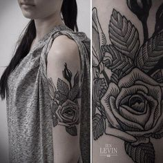 Roses in hatch tattoo