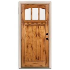 Steves & Sons Craftsman 3 Lite Arch Stained Wood Knotty Alder Left-Hand Entry Door with 4 in. Wall and White Frame-A4151-AW-WJ-4LH at The Ho...