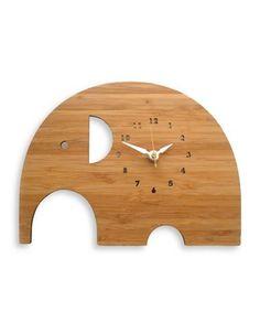 Brika Bamboo Elephant Clock Women's Bamboo