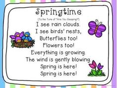 Spring - Centers and Circle Time Preschool Unit April Preschool, Preschool Music, Spring Songs For Preschool, Spring Songs For Kids, Spring Activities, Preschool Ideas, Preschool Teachers, Preschool Centers, Learning Centers