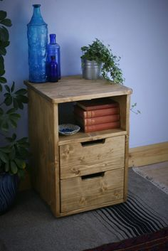 wooden bedside table, small chest of drawers, nightstand cabinet with shelf, 60 high cm, modern rustic custom handmade Somerset UK Handmade Bedside Tables, Wooden Bedside Table, Wooden Bedroom, Rustic Nightstand, Furniture Making, Wood Furniture, Bedroom Furniture, Furniture Ideas, Small Chest Of Drawers
