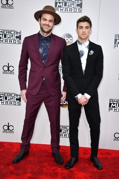 Alex Pall and Andrew Taggart of The Chainsmokers showed off their chic style sense in a burgundy tux and patterned button-downs.  (Photo by Steve Granitz/WireImage)  via @AOL_Lifestyle Read more: http://www.aol.com/article/entertainment/2016/11/20/american-music-awards-2016-red-carpet-arrivals/21610362/?a_dgi=aolshare_pinterest#fullscreen