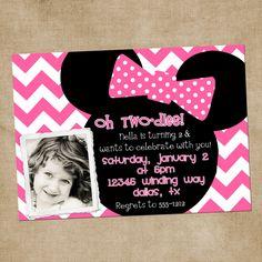 Minnie Mouse Inspired Chevron Digital Birthday Invitation. $12.00, via Etsy.