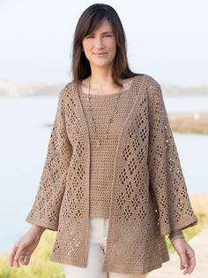ANNIE'S SIGNATURE DESIGNS: Windway Cardigan & Top  Crochet Pattern designed by Lena Skvagerson for Annie's. Order here: https://www.anniescatalog.com/detail.html?prod_id=141589&cat_id=468
