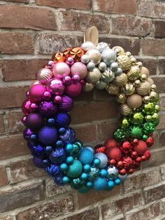 Your place to buy and sell all things handmade - NEW Beautiful Rainbow Christmas Ornament Wreath! Loaded with tons of colors and finishes! Homemade Christmas Wreaths, Christmas Ornament Wreath, Christmas Mesh Wreaths, Christmas Baubles, Christmas Crafts, Christmas Decorations, Winter Wreaths, Spring Wreaths, Summer Wreath