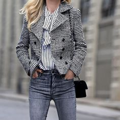 """@brooklynblonde1 gorgeously proving... the """"third piece"""" makes the outfit. Double-breasted plaid stealing the street. #itsbanana"""