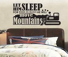 Let Him Sleep for When He Wakes He will Move Mountains - Vinyl Wall Decal Boy Baby Nursery Quote Saying Poem