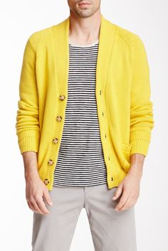 VINCE Cotton Racked Cardigan