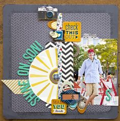 Shine On, Son! - by Leslie Ashe using the Chap collection (and some Amy Tangerine!) by American Crafts. #scrapbooking #son #layout #amytangerine #boys