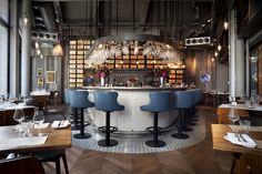 Havwoods HRC1905 Reclaimed Solid Pine Grey Cladding in 28-50 London Restaurant.