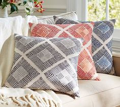 Diamond Tile Phulakri Embroidered Pillow Cover #potterybarn