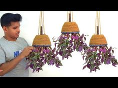 how to make amazing hanging plant ideas/hanging decoration ideas/gardening ideas for home great way to reuse the throwaway, grow plants in limited space and . Plants For Hanging Baskets, Hanging Planters, House Plants Decor, Plant Decor, Garden Crafts, Garden Projects, Bottle Garden, Diy Planters, Growing Plants