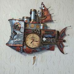 Steampunk Clock, Wood Watch, Accessories, Decor, Steampunk Watch, Wooden Clock, Decoration, Decorating, Deco