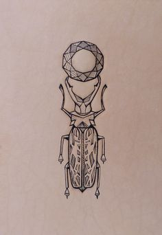 """Geometric mandala bug"". Entomology series. Punctured Artefact. Tattooed leather, edition of 16."