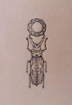 """Geometric mandala bug"". Entomology series. Punctured Artefact. Tattooed leather, edition of 16."