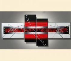 Tableau abstrait rouge et noir