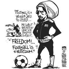 "Real Rastas live for Eternity Real Rastas ""Freedom Football is freedom""-Bob Marley by tecpatitlan Bob Marley Desenho, Bob Marley Kunst, Bob Marley Art, Reggae Bob Marley, Bob Marley Quotes, Bob Marley Tattoos, Reggae Art, Reggae Music, Cartoon Sketches"