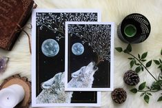 """Howling wolf"" print"