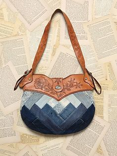 Free People Vintage Leather Denim Purse- I wonder if I could find an old purse & make something like this