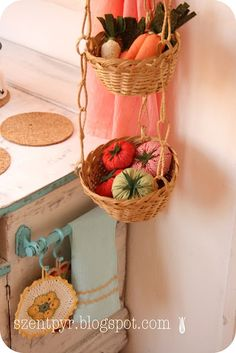 Kids play kitchen, with hanging basket idea More