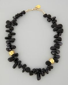 "Black Onyx Up-Down Bead Necklace, 22""L by Devon Leigh at Neiman Marcus."