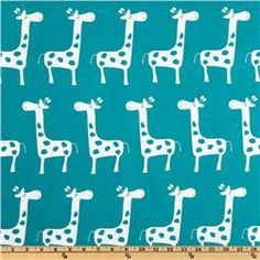 New Nursery Design! Turquoise Giraffe with Gray and White // Premier Prints Gisella True Turquoise